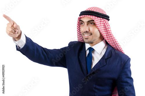 Arab businessman pressing virtual buttons