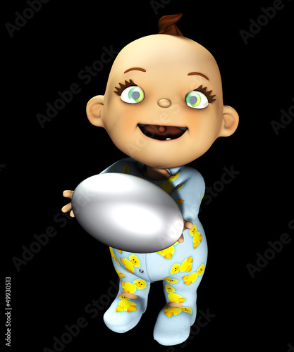 Baby Holding An Egg