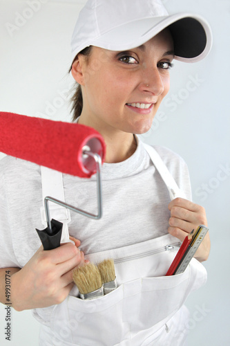 Woman redecorating house