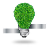 green grass bulb as symbol of sustainable energy poster