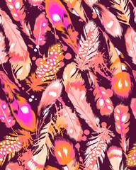 beautiful feathers seamless background