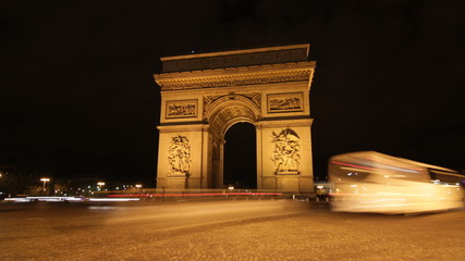 Arc de Triomphe. Night Timelapse.