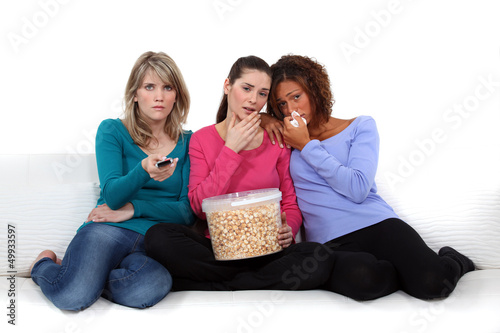 Girls watching a sad film