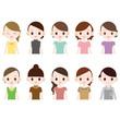 色々な服装の女性 10人