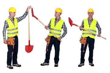 Manual worker holding shovel
