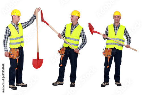 Manual worker holding shovel