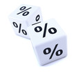 Two white dice with percent symbols