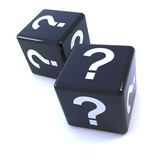 Two black dice with question marks