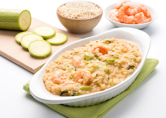 Risotto con gamberi e zucchini - Rice wirh shrimps