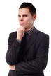 Closeup pose of a thoughtful businessman