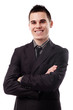 Happy young businessman in closeup pose