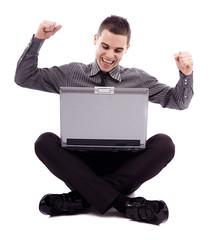 Winning businessman in full length