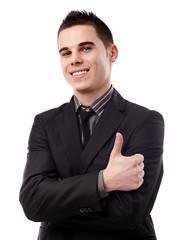 Young man giving thumb up