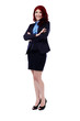 Redhead businesswoman in full length