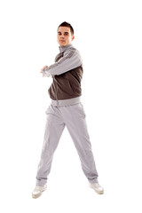 Young man doing physical exercises