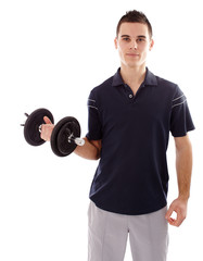Young man lifting a dumbbell