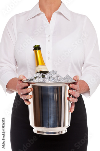 Waitress with Champagne bottle in Ice bucket