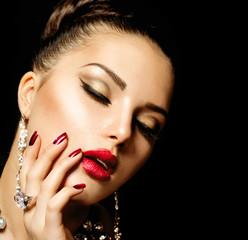 Fashion Beauty. Manicure and Make-up
