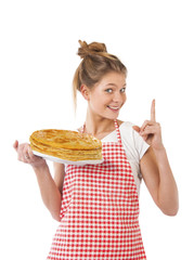 Beautiful young girl with pancakes
