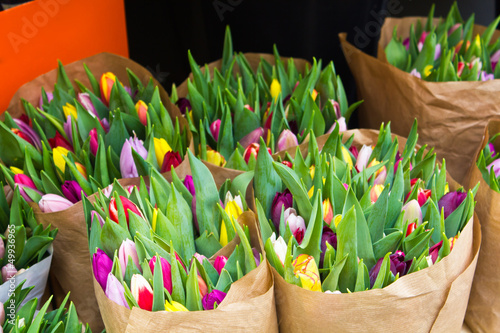 Colorful tulips at market flowers