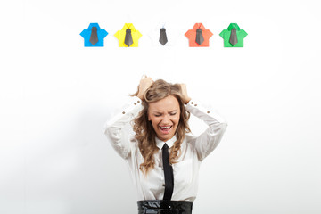 woman and origami shirts