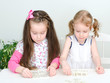 Two little girls playing domino on the table
