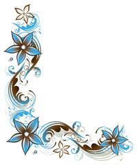 Ranke, Sommer, Blumen, Blüten, braun, hellblau