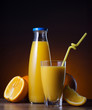 fresh orange juice and fruit
