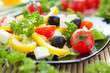 vegetable salad with feta, olives and yellow pepper