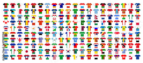 FLAGS OF THE WORLD JERSEYS (football soccer cup sport icons set)
