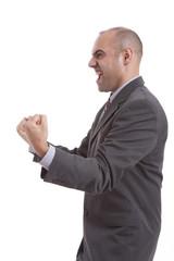 man symbolizing victory