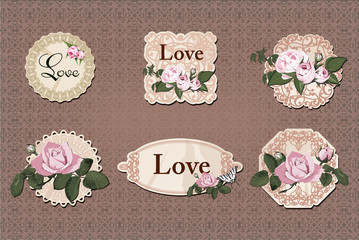 vintage labels collection with roses