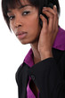 Afro-American businesswoman talking on her cell