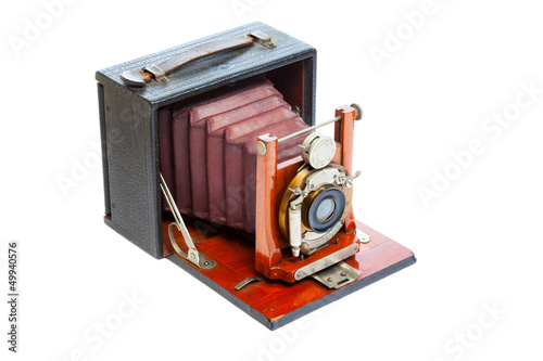Vintage Bellows Camera on a White Background