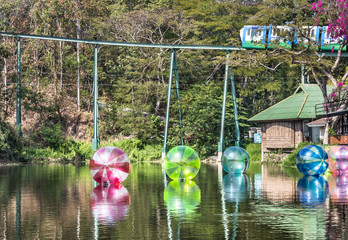 Zorbing air Bubbles on a Lake