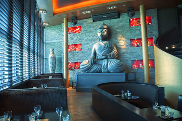 Buddha in restaurant