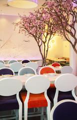 spring theme in modern restaurant
