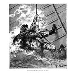 Schiffslotse geht an Bord (Alte Lithographie)