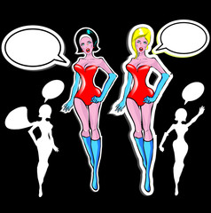 Super woman Lover vector poster with woman and talk bubble, silh