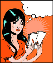 Woman cry and reading pop art comic collection Sad young woman r