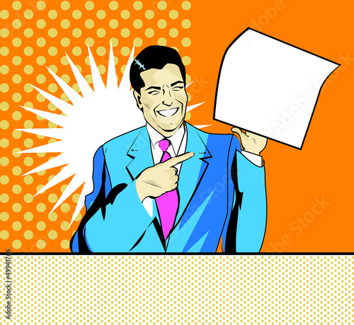 happy advertising man with sheet of paper in a hand in pop art c