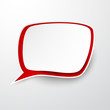 Paper white-red speech bubble.