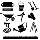 Black & white set of garden icons
