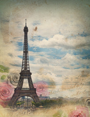 Old card with Paris