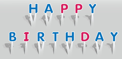 Illustration of HAPPY BIRTHDAY words.