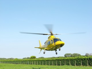 ambulance helicopter takes off fast carrying a serious injury