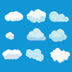 Vector pixel art cloud collection