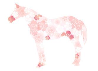 馬の形の春の花 2014年賀状 午年