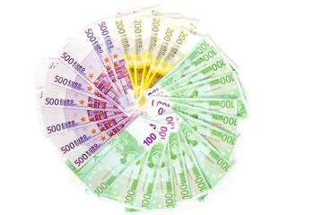 Geldschein im Kreis