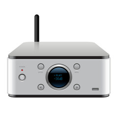 Media Player with Buttons, display and antenna.